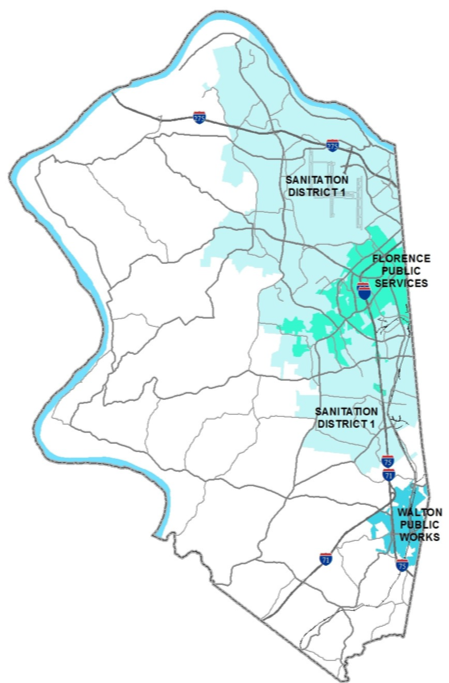 Map of Boone County showing areas which handle stormwater. The western and southern portions of the county are unmarked, indicating no handling of stormwater. The northeast and eastern portions of the county are occupied (from north to south) as Sanitation District 1, Florence Public Services, Sanitation District 1 (again), a gap, and then Walton Public Works.