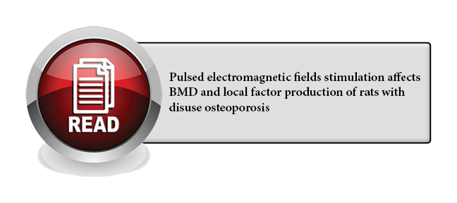 134 - Pulsed electromagnetic fields stimulation affects BMD and local factor production of rats with disuse osteoporosis