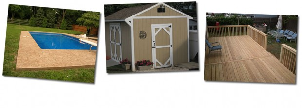 Custom Built Decks, Sheds, Stamped and Colored Concrete, Landscaping, Pavers, Sidewalks, Patios and Excavation