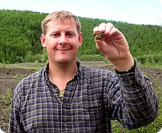 Gerry with a gold nuggett