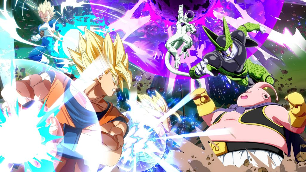 Dragon Ball Fighter Z - warriors clashing, Frieza releasing a his death ball, perfect cell rushing, Majin Buu perpares to attack. defending their attack is Goku and Gohan charging their Kamehameha and vegeta charges his Big Bang Attack.