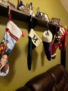Stocking hung with care along the wall because I live in Florida and don't need a fireplace