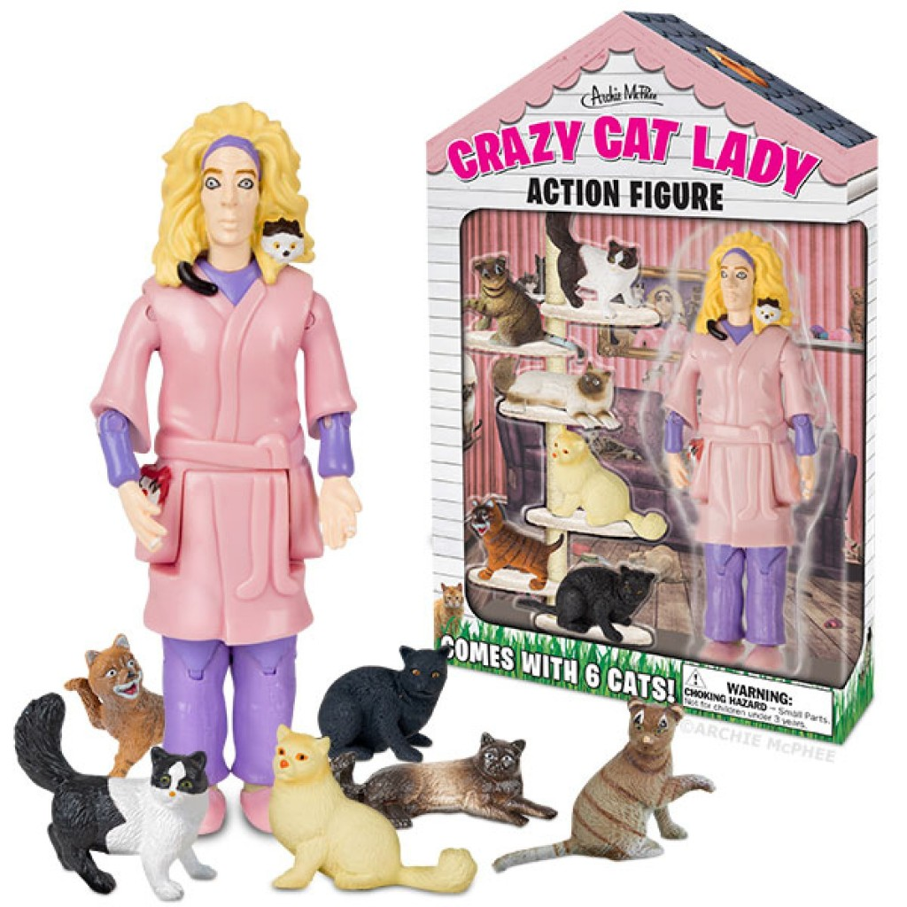 """The """"Crazy Cat Lady' action figure is sold at Amazon.com and Walmart. Credit: Amazon"""