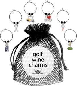 golf wine charms six pack