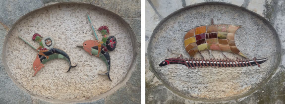 walking tour of public art - mosaic ships and creatures