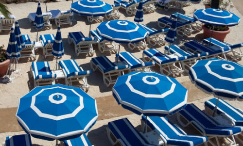 Beaulieu-sur-mer beach umbrellas. Summer 2018.