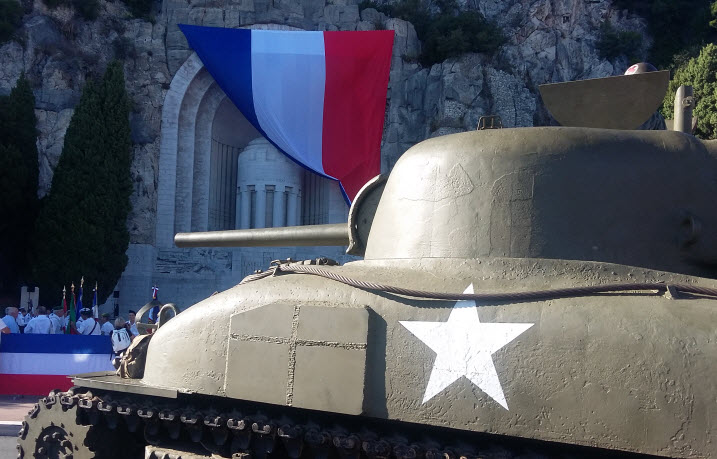 US Army tank taking part in the annual memorial service honoring the August 28, 1944 uprising in Nice against the Nazis.