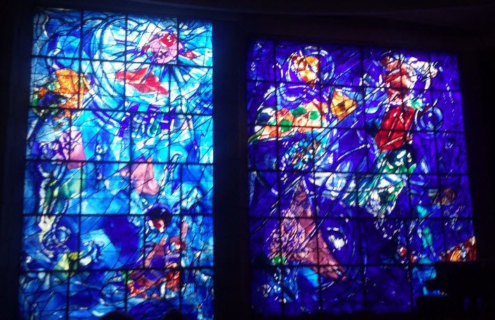 Stained glass window, Performance hall, Chagall Museum, Nice