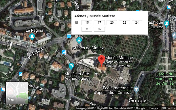 Location of Matisse Museum, Nice, France