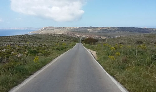 Country lane in northwest Malta