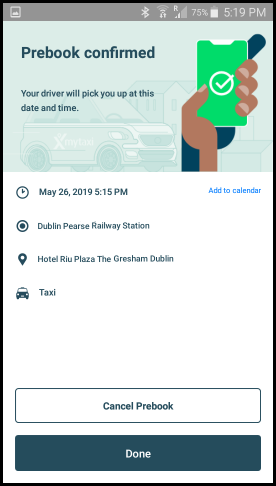 MyTaxi booking confirmation screen