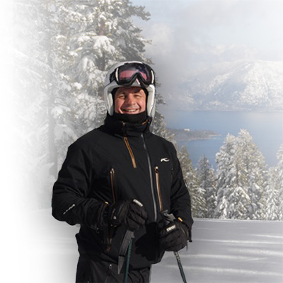 Winter skiing near his home in Lake Tahoe Winter.