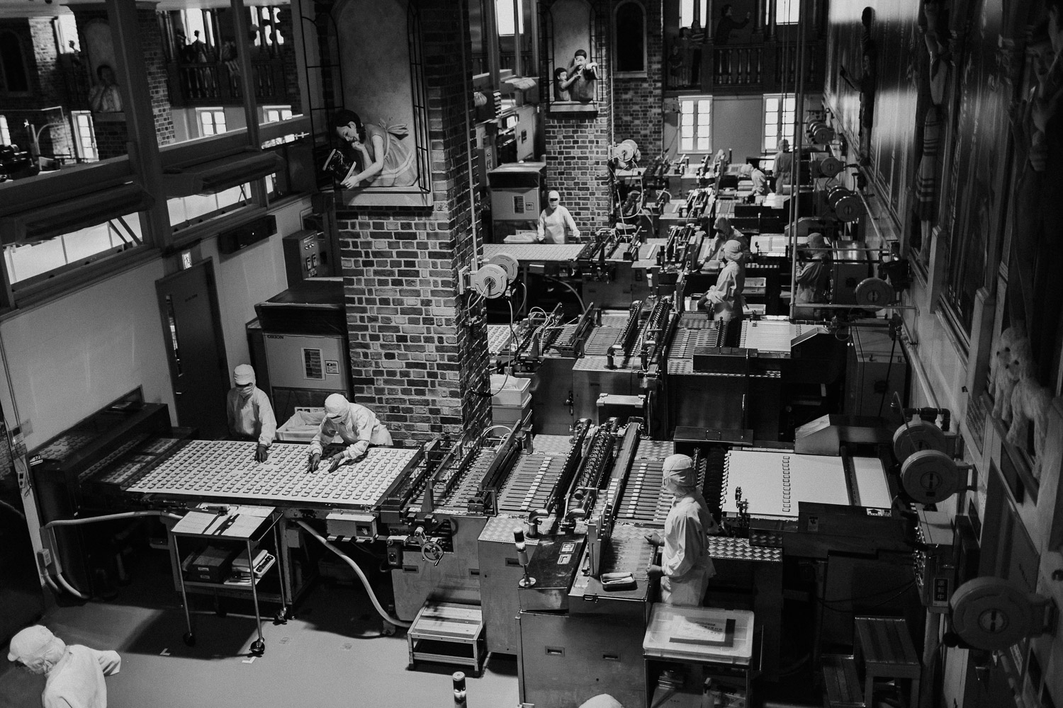 Black and White image of inside the production line