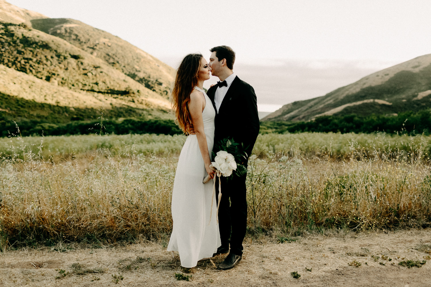 Image of groom and bride stand together in front the mountain