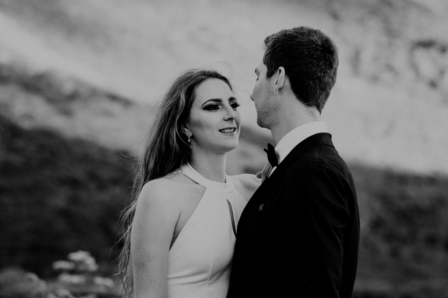 Black and White image of groom and bride