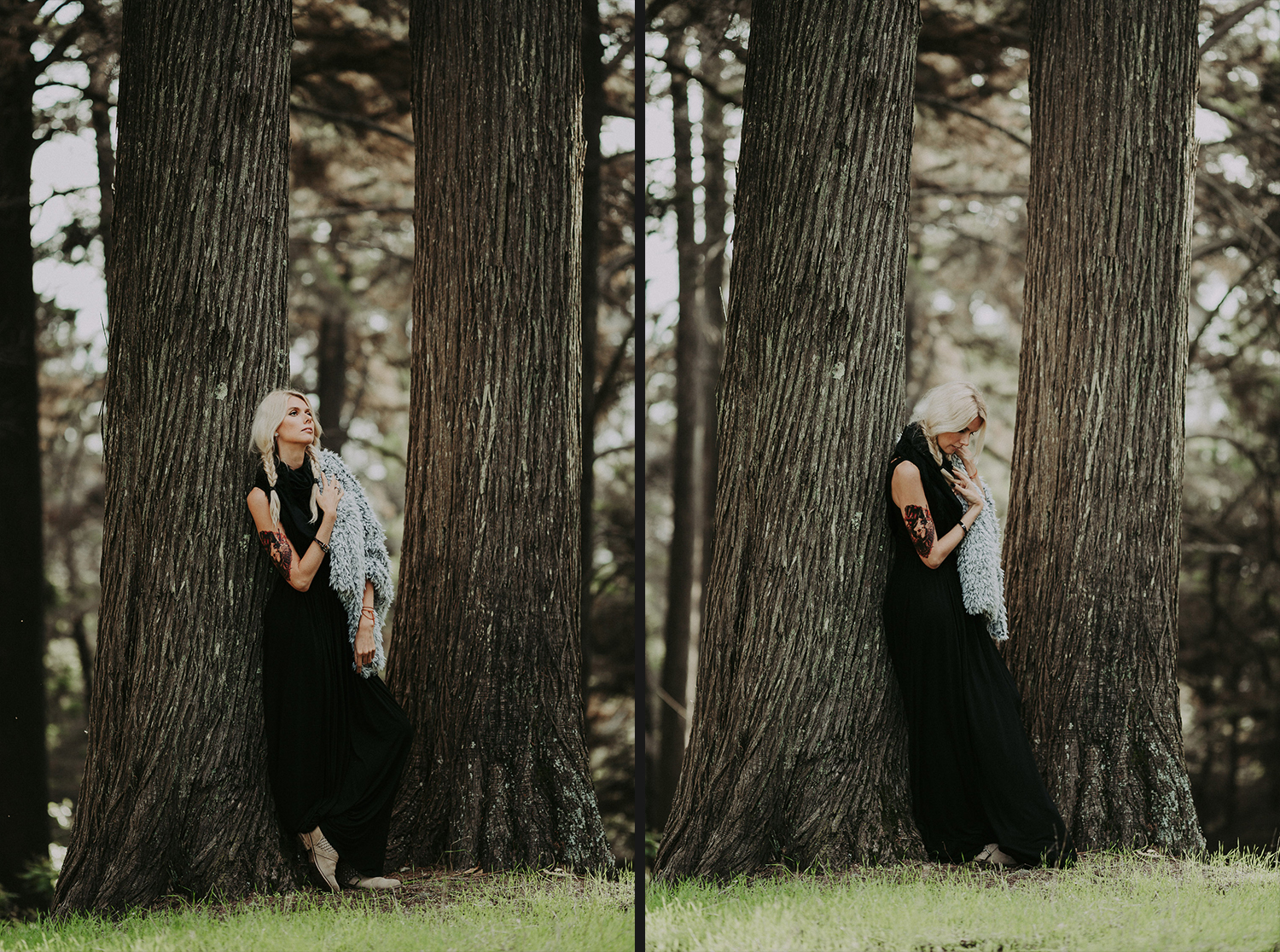 Image of a girl leaning to the tree
