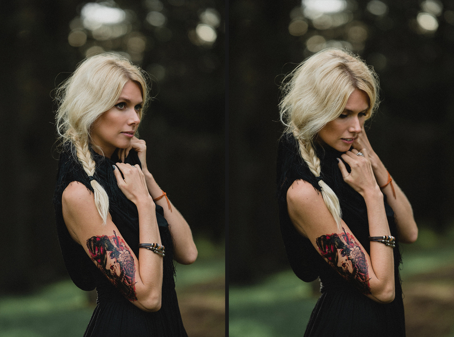 Image of a girl with golden hair and tattoo on arm