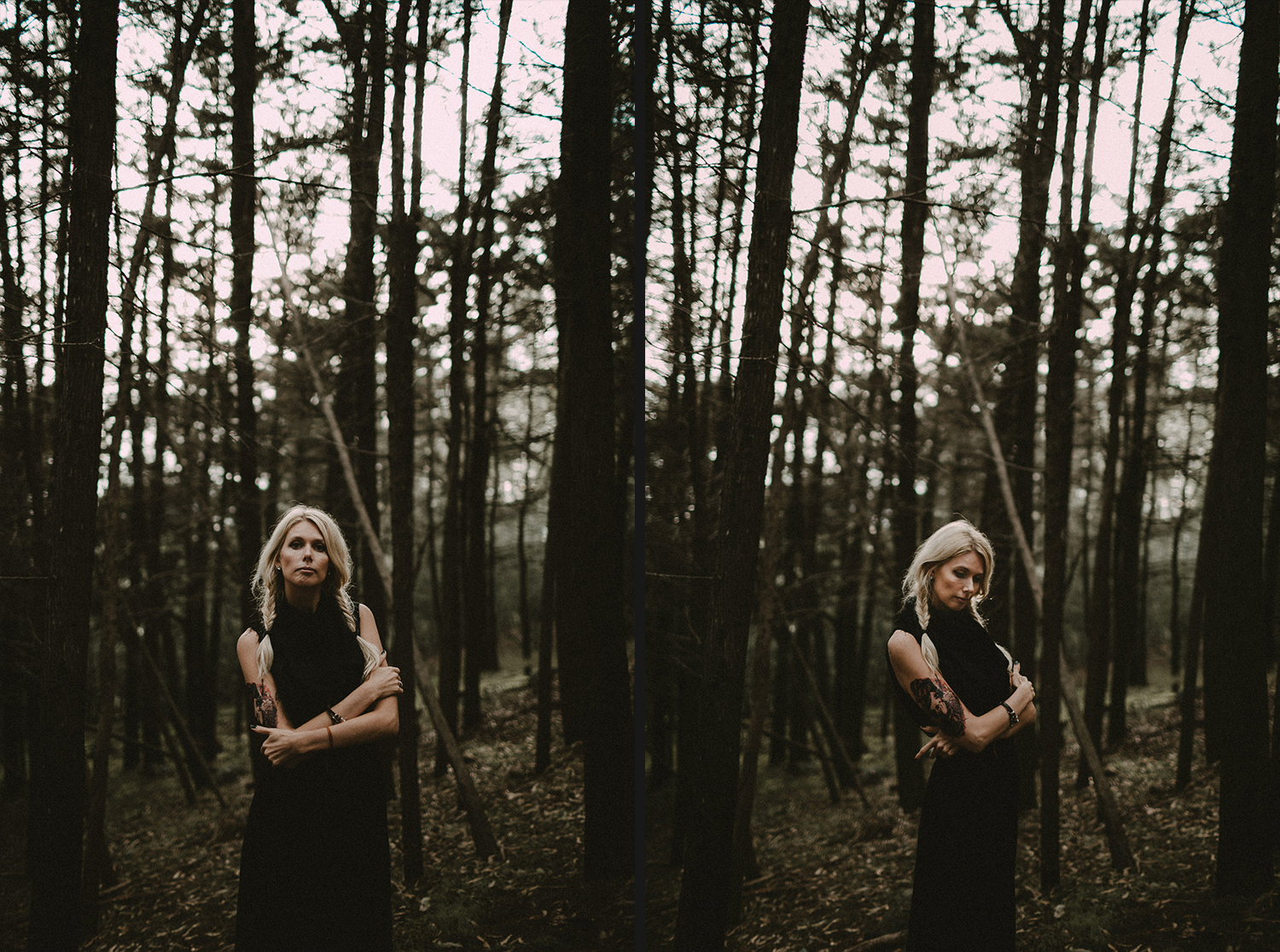 Image of a girl stands in the trees