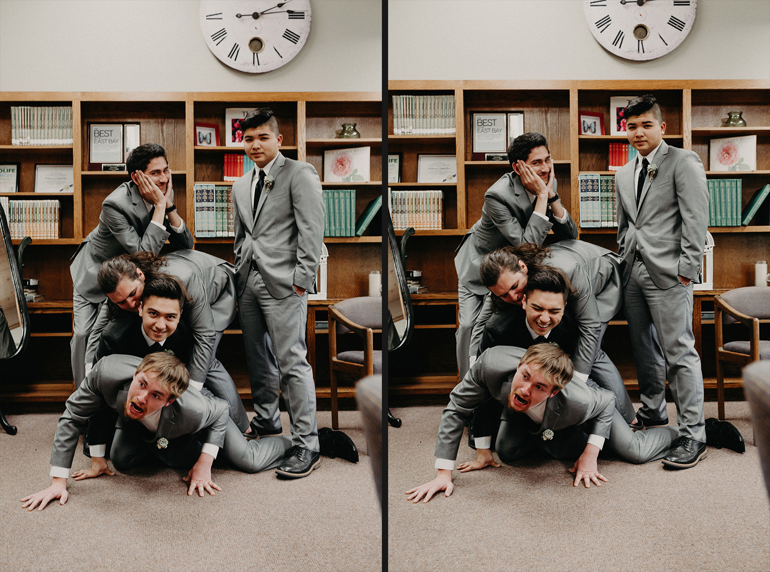 Image of groom and groomsmen have fun