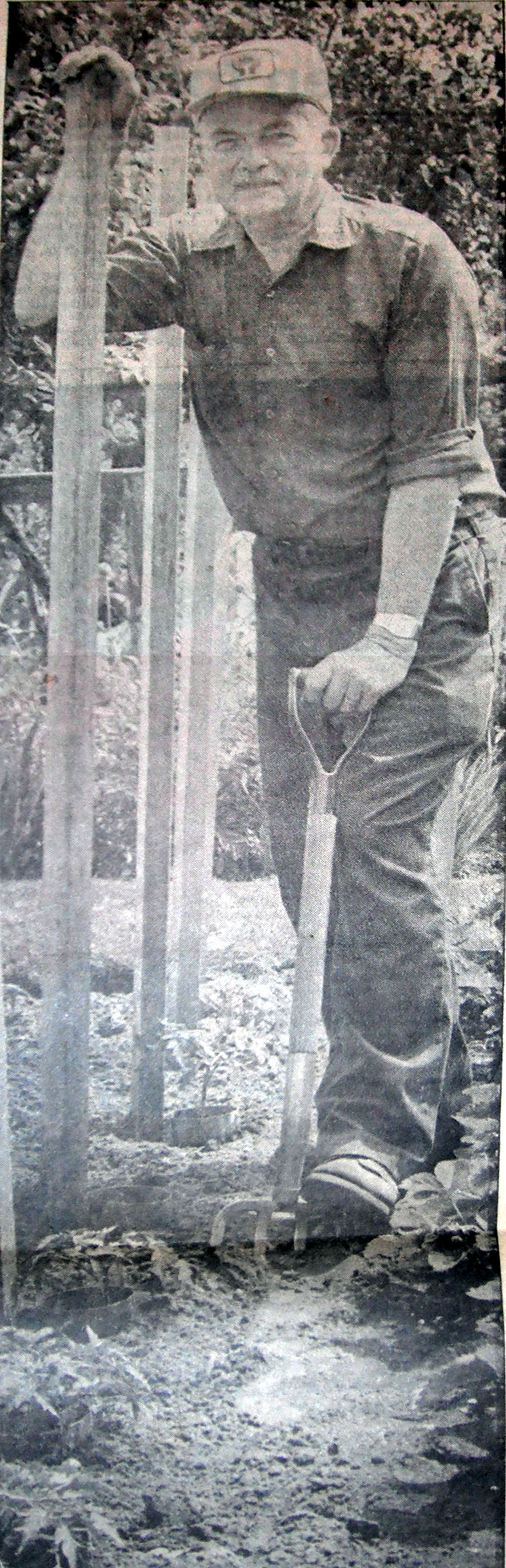 Platoon Chief Fred Holmes standing in his garden.