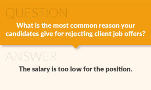 Most Common Reason for Rejected Offers