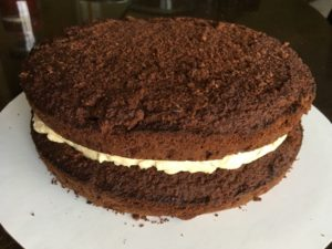 keto chocolate Peanut Butter Frosting Cake