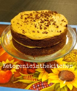 keto chocolate peanut butter frosted cake