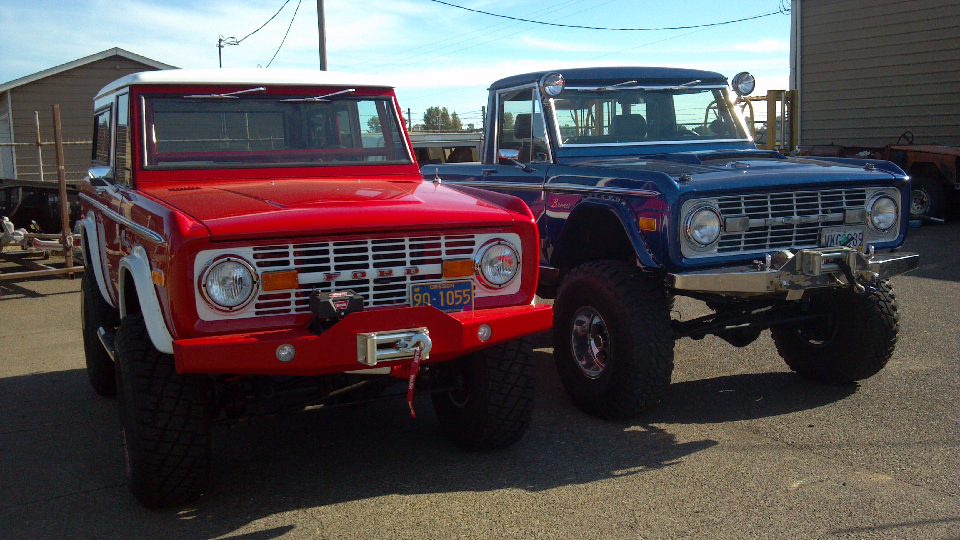 B&B Auto Repair - Red and Blue Early Ford Broncos