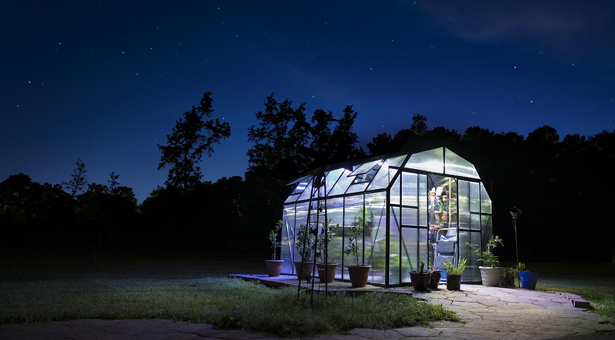 Grandio greenhouse at night with stars, Guy Sagi Photography, strobist Greenhouse Photo, greenhouse with stars behind, Raeford, North Carolina, Fayetteville