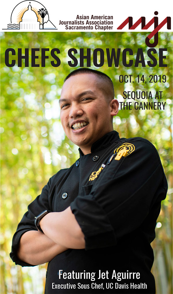 Photo showing chef on cover of program for event.