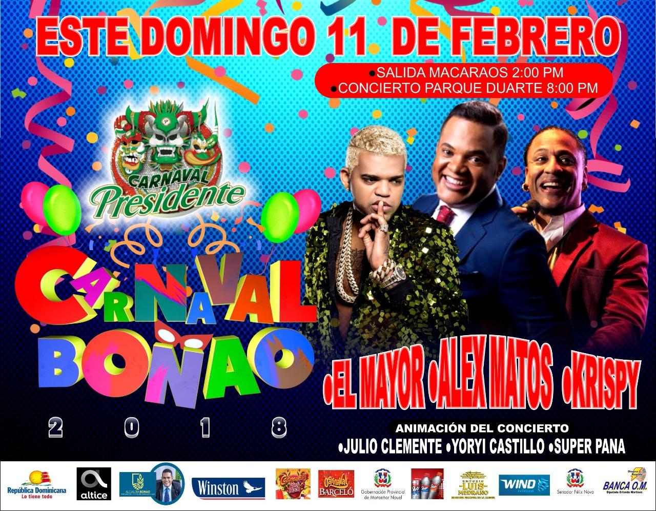 Alex Matos, El Mayor Clasico y Krispy le ponen el ritmo al carnaval Bonao éste Domingo.