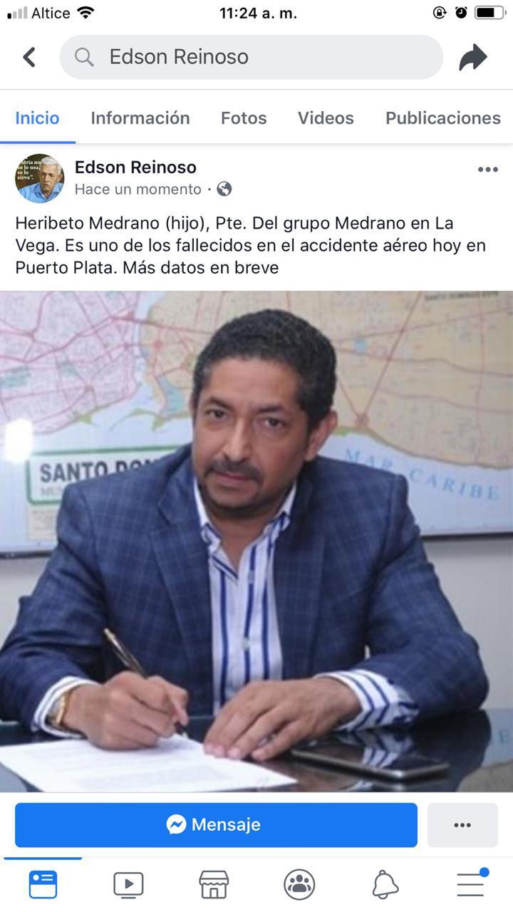Hijo del presidente del grupo Medrano fallece.