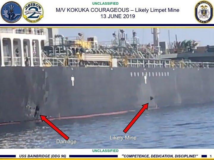EEUU muestra video en el que aparecen iraní retira una mina de un buque