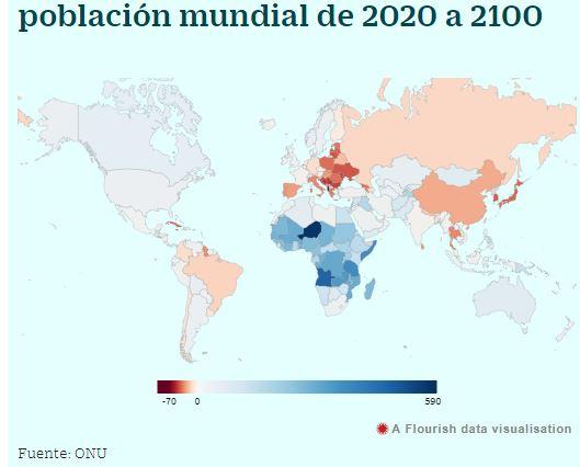 RD entre los 100 países que tendrá mas habitantes para el 2100