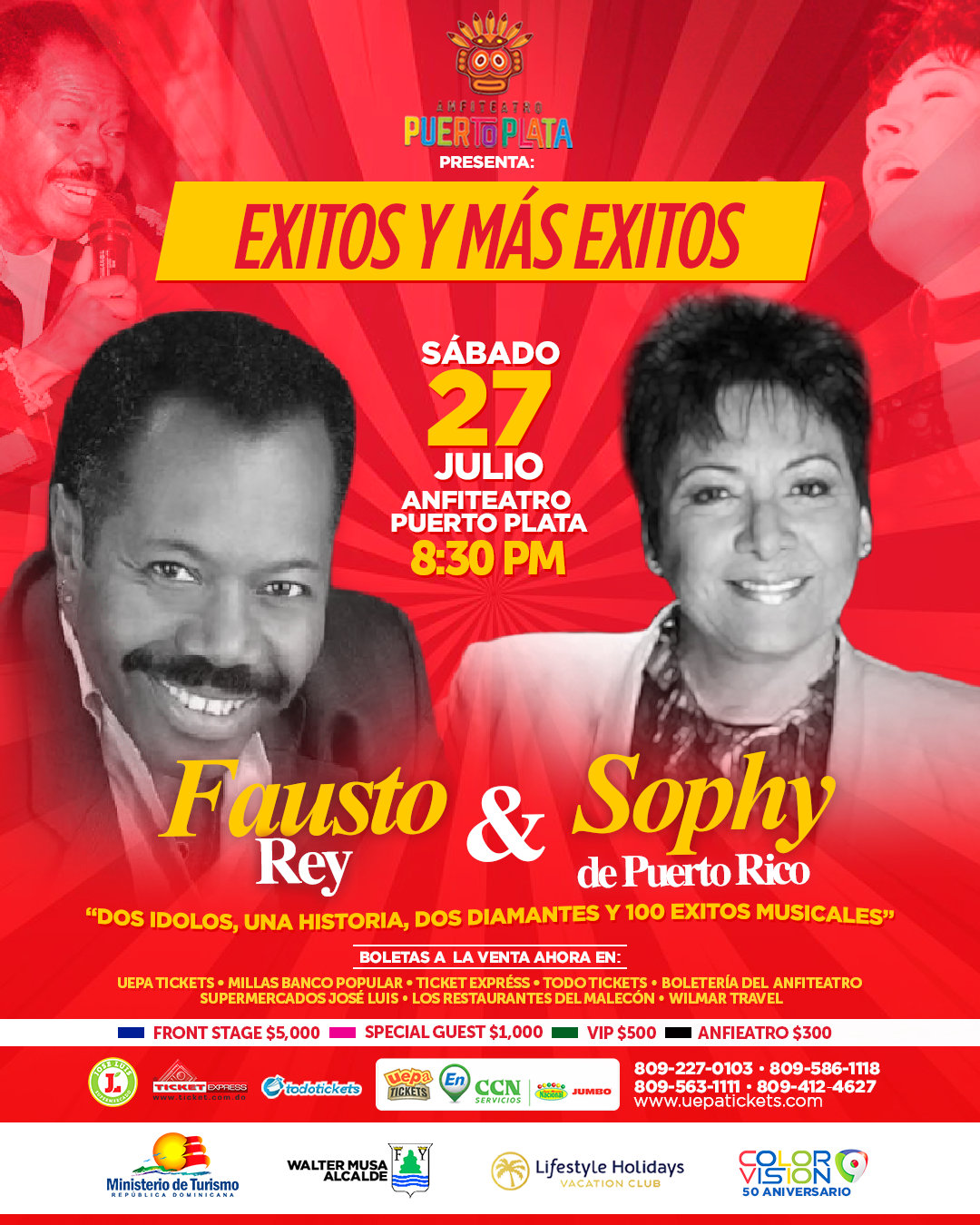 """Sophy y Fausto Rey """"Éxitos y Más Éxitos"""" en el anfiteatro Puerto Plata"""