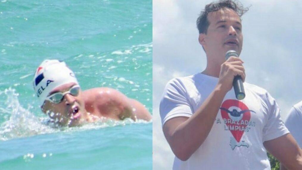 Eduardo Canela realizó el reto de nadar 20 kilómetros desde Sosúa POP