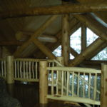 Log railings and roof system from loft