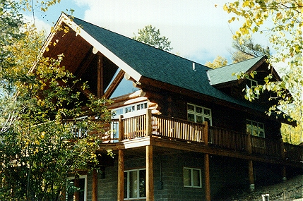 Cedar log home scribe fitted