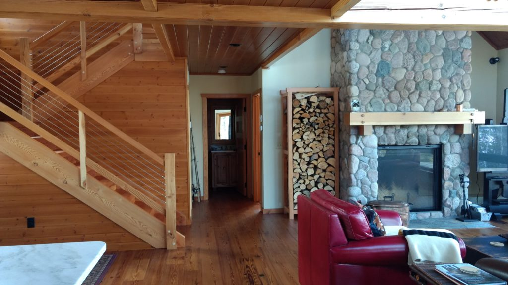 stone fireplace timber stairs