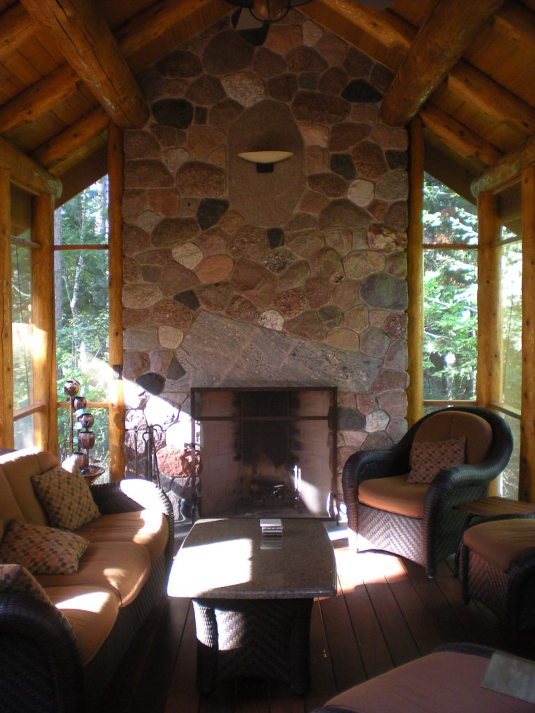 Inside, the impressive stone fireplace