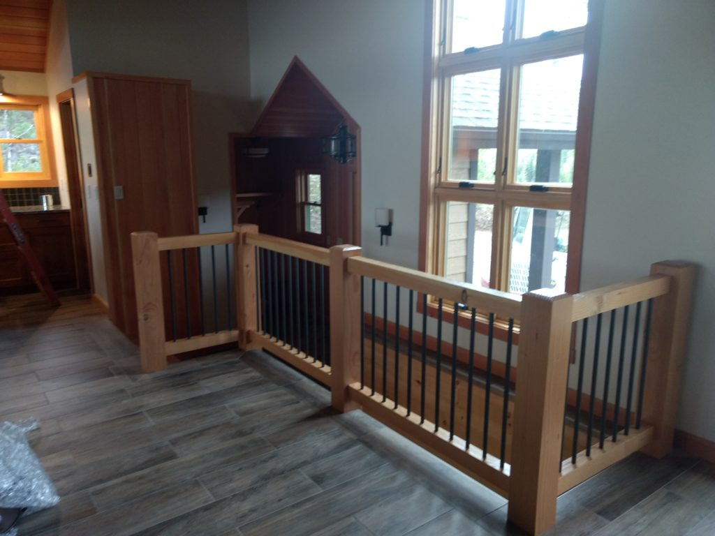 Stair railing, doug fir