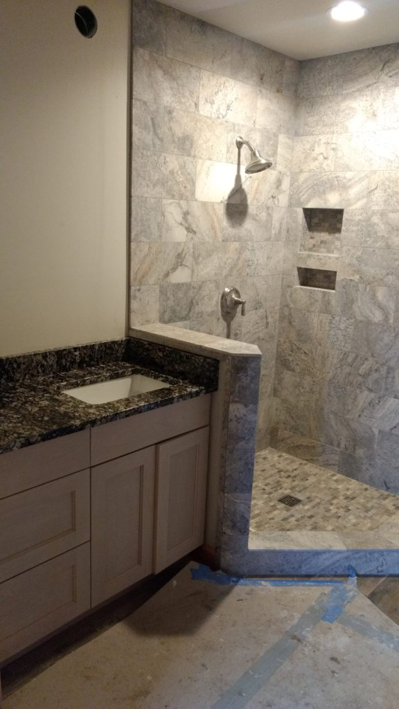 Tile and granite bathroom