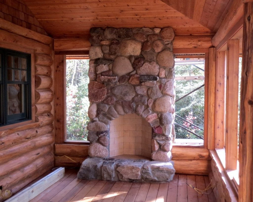 Fireplace on screen porch