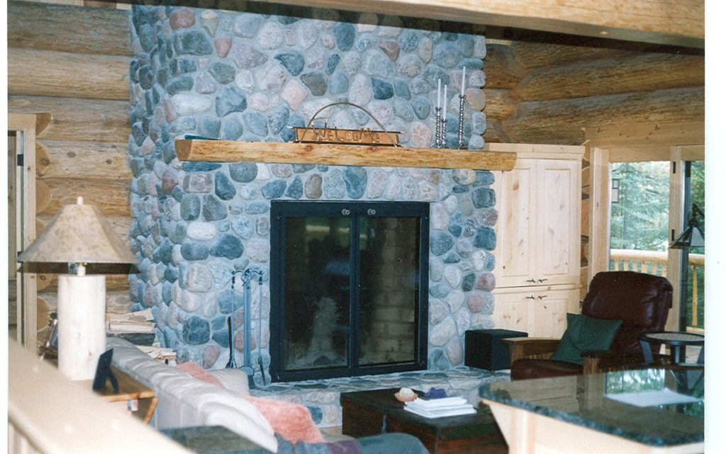 Great room fireplace, log home