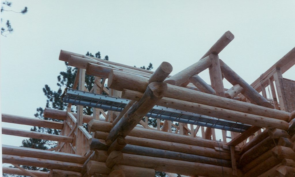 Log construction roof system