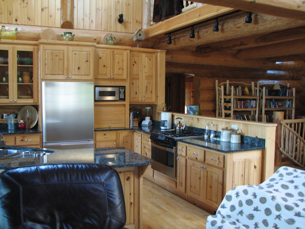 Pine cabinets, kitchen, log home