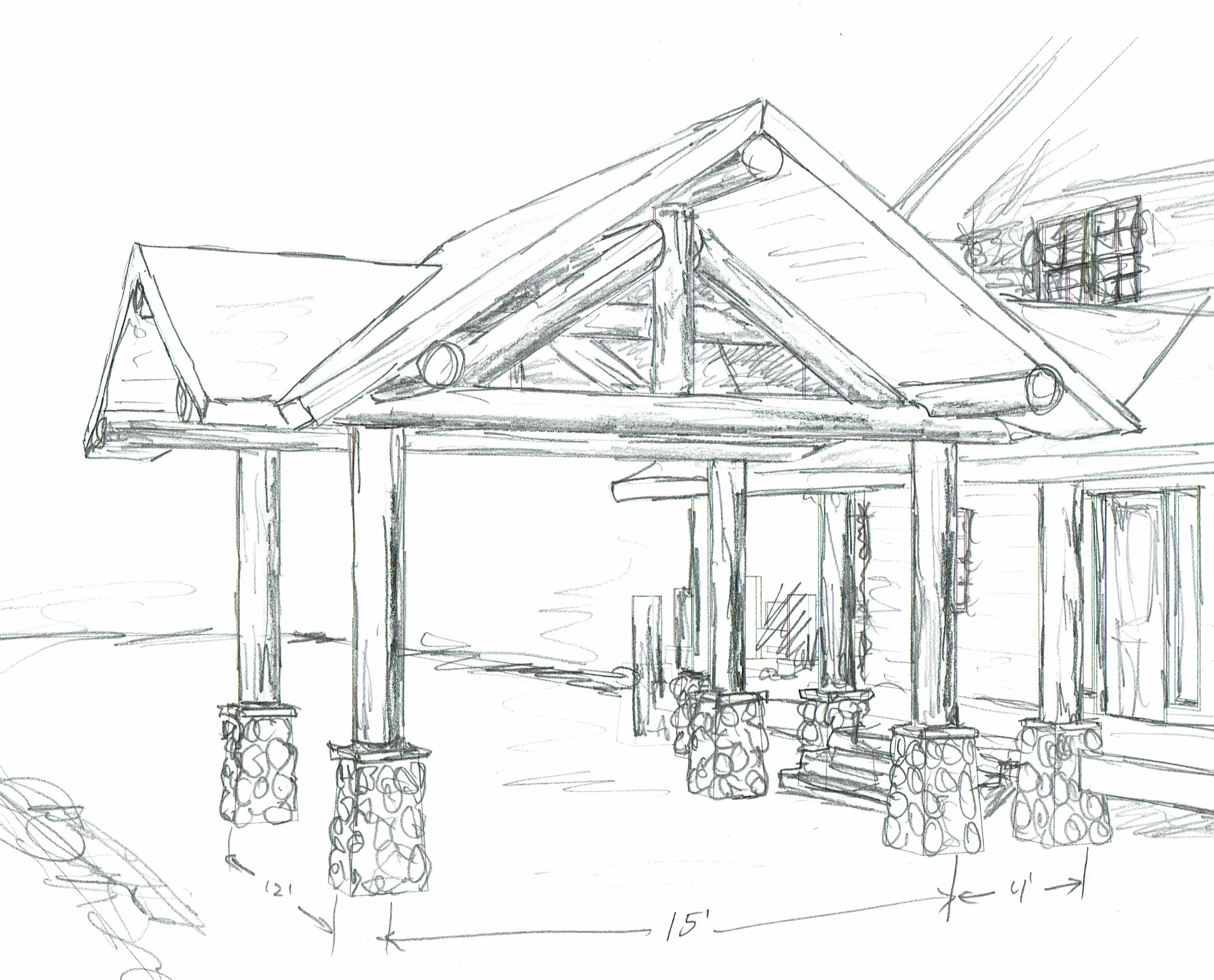 Sketch of drive-through portico log construction