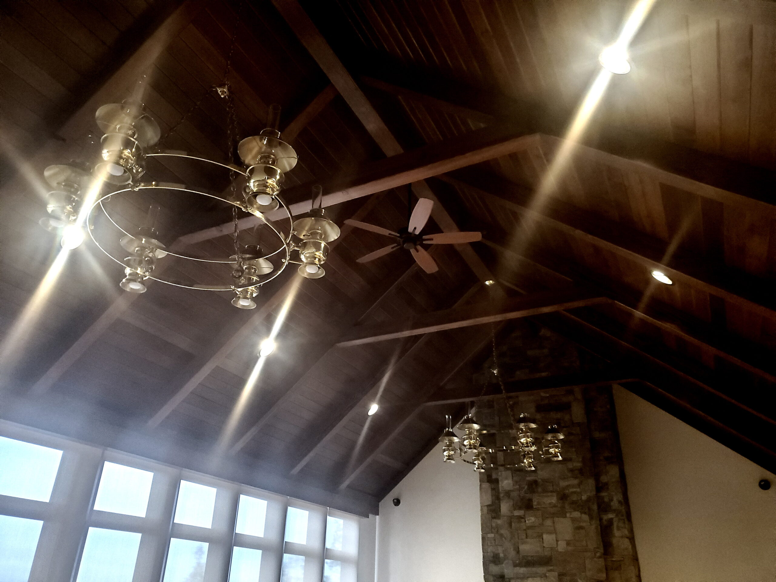 Ceiling timbers and Chandeliers in great room