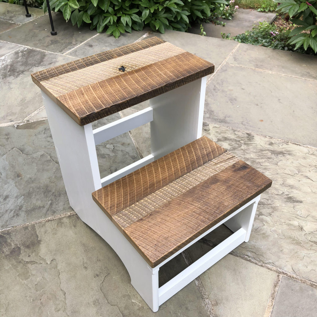 Barn wood accent step stool