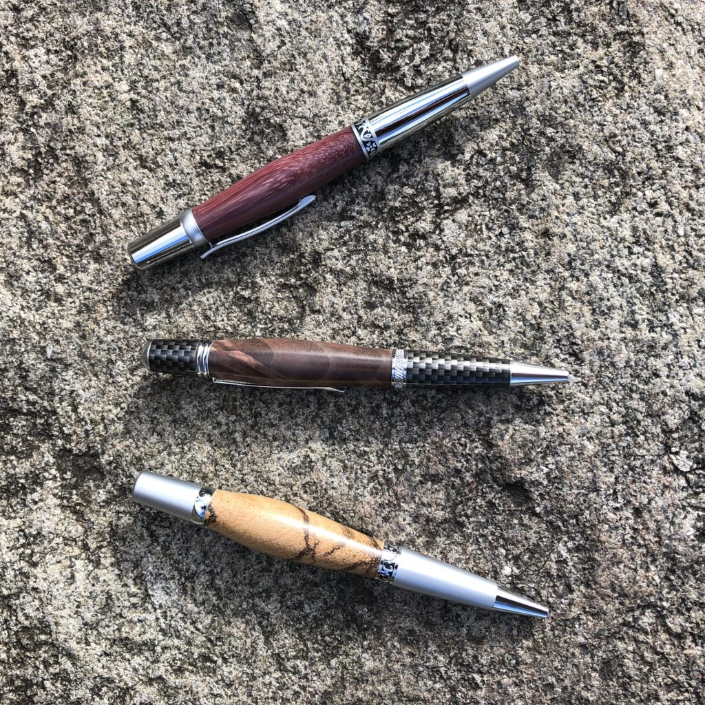 Fine hand turned writing instruments of various wood species